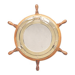 """30"""" Ship Wheel Porthole Mirror - This eye catching ship wheel porthole mirror opens just like an actual porthole. It features a wood ship wheel with a beautiful polished brass porthole mirror set inside of it. The ship wheel measures 30""""Dia. The measurement is from the end of one handle to the end of the handle on the opposite side. The porthole mirror itself measures 17""""Dia. It adds a beautiful touch to the office, home and restaurant/bar. It makes a great gift, an incredible decoration and will be admired by all those who love the sea."""