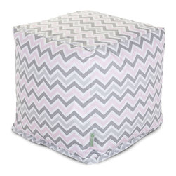 Majestic Home - Indoor Pink Zoom Zoom Small Cube - Brig some zing to your favorite setting with this cool zigzag cube. It's an awesome update on the beanbag that serves as a footstool, side table or comfy seat. Plus the easy-care slipcover zips off so you can toss it in the washing machine.