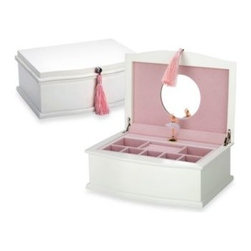"Reed & Barton - Reed & Barton Musical Ballerina Jewelry Chest - Capturing the tradition of a classic jewelry box, this wood chest has a white and pink velvet interior. When you open the box, the lid has a mirror that reflects a ballerina that pirouettes to ""Nutcracker Suite"" in front of it."