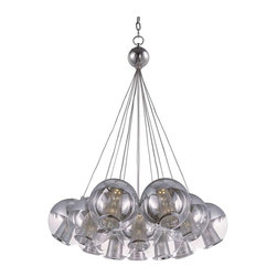ET2 Lighting - ET2 Lighting Reflex 12-Light LED Pendant, Polished Chrome - E22788-81PC - Hand blown balls of glass are half coated in a Mirror Chrome finish and clustered in whimsical configurations. Cones of Polished Chrome perforated metal glitter like diamonds when illuminated by dimmable LED modules which are fully dimmable