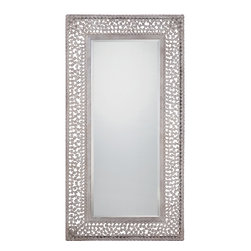 Quoizel - 'Confetti' Old Silvertone Metal Chip Frame Mirror - Bring home this funky-chic rectangular mirror which is sure to add glamour to any living space with its confetti-like metal chips and old silver finish.