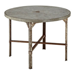 """Lamps Plus - Rustic - Lodge Urban Collection Round Outdoor Dining Table - Round outdoor dining table. Clear coated rusted aged metal finish. Metal base construction. Molded concrete over a light weight core table top. Fake rivet heads on table base. 30"""" high. 41"""" wide. 41"""" deep.   Round outdoor dining table.  Clear coated rusted aged metal finish.  Metal base construction.  Molded concrete over a light weight core table top.  Fake rivet heads on table base.  30"""" high.   41"""" wide.  41"""" deep."""