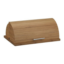 Bamboo Bread Box - Naturally variegated bands of renewable bamboo create a sleek curved profile, with a roomy interior. Stainless steel handle.