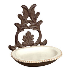 GG Collection - GG Collection Grazia Spoon Rest - Spoon Rest, Brown Metal w/Cream Ceramic insert, Grazia, 5.5in x 4.5in x 6in H, Care: Ceramic is dishwasher safe. Metal, hand wash in mild soap, dry with a soft cloth
