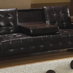 Coaster - Contemporary Sofa Bed w Drop Down Console and - Modern tufting. Wide track arms. Hidden storage and built in cup holders on each arm. Spacious enclosed storage, ideal for extra blankets and pillows. Dark brown faux leather upholstery. Back cushion drops to easily convert comfy sofa into bed. Sinuous spring base. Back zipper and leg support. High tufted look back cushion with deep tufted look seat cushion. Made from kiln dried hardwood frame. Seat height: 24.5 in.. Sofa: 90 in. L x 34 in. W x 35.5 in. H. Depth with sleeper open: 44 in.. WarrantyThis cool sofa sleeper will be a welcome addition to any home, perfect for smaller home like a condo or apartment. Make the most of your space with this multi-functional sofa. This multi-functional piece offers comfortable lounging space by day, and a cozy bed for overnight guests. Great for small homes, apartments, condos, and dorms, a convertible sofa is just what you need to take advantage of your space, without sacrificing style.