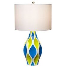 Cool Lime Green and Aqua Blue with White Shade Table Lamp - Euro Style Lighting