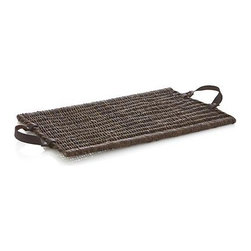 Hearth Serving Tray with Handles - Woody bagobago vines weave rustic refinement for tabletop, kitchen island or hearth. Leather handles give a lift to rectangular tray, sized just right to present plates and drinks.