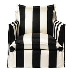 Serena & Lily - Sundial Chair, Black/Ivory Awning Stripe - This striped Sundial chair is one of our favorites. It makes a bold statement with a classic print, swivels, sits comfortably and is made entirely for outdoors. It's the perfect way to glam up your outdoor space.