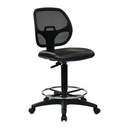 Office Star - Office Star Deluxe Mesh Back Drafting Chair With Vinyl Seat and Foot Ring - Deluxe Mesh Back Drafting Chair with 20 Inch Diameter Foot ring . Fabric Seat and Mesh Back with Adjustable Foot ring. Pneumatic Height Adjustment 24.25 Inch to 33.75 Inch. Heavy Duty Nylon Base with Dual Wheel Carpet Casters What's included: Office Chair (1).