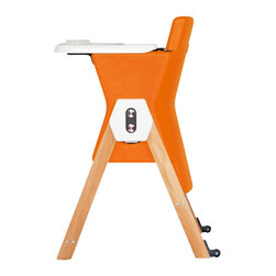 Hilo - HiLo Highchair by Patrice Guillemin, Carrot / Beech - Meet the brand new HiLo kids chair! A colorful, dual-height kids' chair that combines contemporary design with simplicity and functionality. Designed by AGE Design, creator of modern, intelligently designed children's products. The chair serves parental aesthetics for modern interiors, while keeping toddlers well seated from 6 months to 5 years.