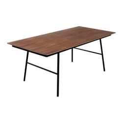 Gus Modern - School Table by Gus Modern - If only your school's cafeteria had such elegant furnishings. The Gus Modern School Table has a straightforward, utilitarian design warmed up with richly grained wood. The top is cross-grained plywood (Walnut or Oak-finished) mounted to a Black powder-coated tubular steel frame. The legs are slightly splayed for stability and a somewhat relaxed stance. Mid-century modern design interpreted with an industrial edge. Such is the modis operandi of Gus* Modern. Every accessory, sofa, sectional, chair and table they design is inspired by simple forms and honest materials. The resulting modern furniture pieces are clean, elegant and versatile, with crisply tailored upholstery and solid, eco-friendly FSC-certified wood frames. Founded in 2000, Gus* Modern is based in Toronto, Ontario, Canada.