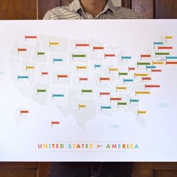 American Flags Map - I'm always on the lookout for maps (one of my most searched items on eBay.) While vintage maps are on my perpetual wishlist, I think this modern American Flags map is super cool.  It's silk-screened with sorbet colored flags to mark each state.