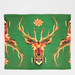 Chobopop for Deny Geometric Deer Throw Blanket - I love the early American look of this throw. It has great colors, all in a fleecy, soft finish.