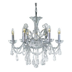 "Inviting Home - Bohemian Crystal Chandeliers (select crystal crystal) - Bohemian select crystal chandelier with cut crystal trimmings; 24"" x 23""H (6 lights); assembly required; 6 light clear crystal chandelier with hand-molded arms and machine-cut crystal trimmings; all metal parts are chromium plated; genuine Czech crystal; * ready to ship in 2 to 3 weeks; * assembly required; This chandelier is a part of Bohemian Classic Collection. Under the name ""Bohemian chandeliers"" it is impossible to imagine nothing more characteristic than crystal machine-cut chandeliers. Their all-crystal appearance with added non-glass materials makes them ideal representatives of the traditional Bohemian classic. The crystal beauty is then enhanced by mouth-blown cut components or hand-cut chandelier trimmings used. It is just these elements that rank these fixtures among ""jewels"" illuminating luxurious interiors. The tradition of production luxurious appearance and classical morphology are the common denominator of all these chandeliers. To manufacture these almost 90 percent is hand-completed: mouth-blowing cutting and other techniques applied when working glass and metals. Machine-cut crystal chandelier trimmings and artistically chased metal parts provide a stamp of luxury. Devotees of these lighting fixtures come mostly from the circles of the lovers of magnificent designs created in the style of the timeless classic. Every component passes thorough strict internal Quality Control processes. Highest quality European production with certified standards. UL approved - dry location; hardwire; 6x E12/14 - 40W bulbs; bulbs not included. 3 to 4 feet chain drop provided. Hand crafted in Czech Republic."