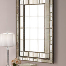 Horchow - Almont Mirror - A border of antiqued beveled mirrors in a distressed rust-bronze finish with silver champagne undertones makes for a stunning mirror that exudes Art Deco style and glamour. Handcrafted of wood composite and glass. Hangs vertically or horizontally. ....