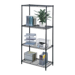 """Safco - Safco 36"""" x 18"""" Industrial Wire Shelving - Safco - Wire Storage - 5285BL - Includes 4 shelves 4 posts and snap-together clips. Strong welded wire construction with a per shelf capacity of 1250 lbs. (with weight evenly distributed). Open wire design permits air circulation and prevents dust accumulation. Shelves adjust in 1"""" increments. Unit assembles in minutes without tools. Optional add-on unit and extra shelf pack available to meet specific requirements. Available in Black or Metallic Gray powder coat finish."""