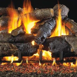 RH Peterson Gas Logs - RH Peterson Charred Series American Oak Gas Logs (18-inch) - Choose Size: 18-inch. Detailed bark features. Burners not included. Compatible with G4, G45 burners & G5, G45A, G46 ANSI certified burners. Uses natural or propane gas. Vented gas log. Made of refractory ceramic. Lifetime warranty