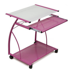 Calico Designs - L Cart - Pink and White Glass - Metal Sliding Keyboard: 22.5 in. W x 11 in. D . Bottom Shelf / CPU Holder: 23 in. W x 16 in. D. Tempered Safety Glass. Powder Coated Steel for Durability. (4) Casters for Mobility with 2 Locking. Overall Dimensions: 27 in. x 18.75 in. x 29 in. H. Main Work Surface: 23 in. L x 18.75 in. D