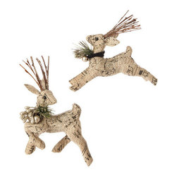 Raz Burlap Deer Ornament - I love mixing elegant things with rustic things at Christmastime, and I think these reindeer ornaments are a great mix of both.