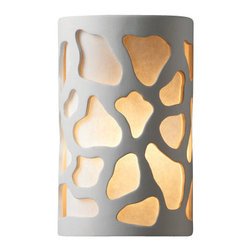 """Justice Design Group - Justice Design Group CER-7445 Single Light 9.5"""" Interior Small Cobblestones Wall - Ambiance 9.5"""" Interior Small Cobblestones Wall Sconce Rated for Damp Locations from the Ceramic CollectionThis transitional 9.5"""" wall sconce from the Ambiance Collection is rated for damp locations and interior use.   For your convenience this fixture is offered in a multitude of finishes and the unfinished ceramic finish option (Bisque) is paintable, allowing you to customize this fixture to suit any interior.  The openings in this fixture allow light to wash up and down from the fixture while the multiple lamping options allow you to design this fixture to fit your lighting needs.From an elegant lamp atop a contemporary end table to a dramatic sconce illuminating a formal entryway, Justice Design offers a wide array of lighting solutions for residential and commercial settings. Create a mood, complement a theme, or simply add the perfect accent with a Justice Design decorative lighting fixture.  With over 200 different shapes and more than 35 different finishes, you can customize our fixtures to suit any decor. From paintable Bisque to faux finished masterpieces hand crafted by skilled artisans, Justice Design offers endless design possibilities for any environment - indoor or outdoor."""
