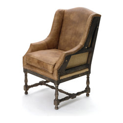Framed Wingback Chair - Aged brown leather and rugged burlap make a handsome team on this unusual take on the wingback chair. The deep wood of the frame shows on the sides and back, giving it a unique look perfect for your reading nook.