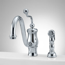 Gunnison Single-Hole Kitchen Faucet with Side Spray - The curvy Gunnison Single-Hole Kitchen Faucet features a decorative handle with ball knob. This faucet has a swivel spout and includes a matching hand spray.