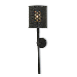 Currey & Co - Currey & Co 5060 Whitton Mole Black Wall Sconce - 1 Bulb, Bulb Type: 60 Watt Candelabra; Weight: 5lbs