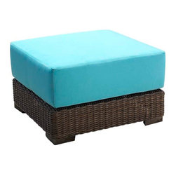 WickerParadise - Patio Wicker Ottoman - South Beach - Here's a bold wicker ottoman that makes a statement. Wherever you place it on your patio or deck, its bright turquoise cushions and tightly woven wicker will welcome guests. And its welded aluminum frame won't warp or rust in an outdoor setting.