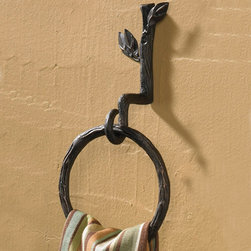 Natures Walk Towel Ring - Capture the rustic feel of nature for your home with our Natures Walk collection. This natural iron accessory is artfully crafted to bring nature indoors with its branch and leaf design. Rich in detail and rustic charm.