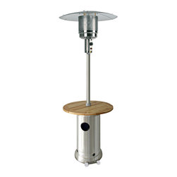 """AZ Patio Heaters - 87"""" Patio Heater with Laminated Wood Table - Stainless Steel - The HLDS01-BWT Tall Stainless Steel Patio Heater with Wood Table projects 41,000 BTUs of heat providing warmth while adding ambience to any outdoor area. Steel construction ensures a durable, weather resistant, functional unit that would be a great addition to any patio, deck or other outdoor setting. The HLDS01-BWT features an emitter / burner unit made of heavy duty steel, built on wheels for easy portability / mobility and an adjustable table that can be removed completely. This heater is CSA Approved and includes a burner cover and regulator."""