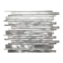 Eden Mosaic Tile - Long Random Bar Silver Aluminum Tile, Silver Sample - Aluminum mosaic tiles provide the look of stainless steel metal mosaic tiles but with added texture and durability. The circular brushed aluminum finish gives a unique modern aesthetic while the extruded structure of the tiles provides superior durability and support once installed. If you are considering metal mosaic tiles for your kitchen or bathroom backsplash or perhaps for an accent wall then you should seriously consider our collection of aluminum mosaic tiles. Imported.