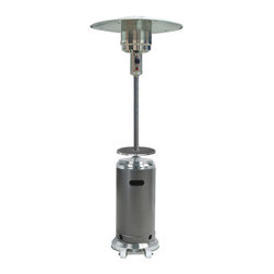 "AZ Patio Heaters - 87"" Tank Housing Patio Heater with Table - Stainless and Silver - The HLDS01-SSHST Tall Stainless Steel / Hammered Silver Patio Heater with Table projects 41,000 BTUs of heat providing warmth while adding ambience to any outdoor area. Steel construction ensures a durable, weather resistant, functional unit that would be a great addition to any patio, deck or other outdoor setting. The HLDS01-SSHST features an emitter / burner units made of heavy duty steel, built in wheels for easy portability / mobility and an adjustable table that be removed completely. This heater is CSA Approved and includes a burner cover and regulator."