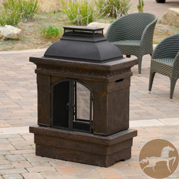 Christopher Knight Home - Christopher Knight Home Luvan Outdoor Copper Stone Chiminea Fireplace - Enjoy the outdoors with the Luvan fireplace. Constructed with fiber glass reinforced cement, this chiminea is elegantly designed with a weathered copper finish and decorative trim detail.