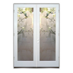 "Glass Front Entry Doors - Frosted Obscure Etched Glass - Banana Leaves 2D - Glass Front Doors, Entry Doors that Make a Statement! Your front door is your home's initial focal point and glass doors by Sans Soucie with frosted, etched glass designs create a unique, custom effect while providing privacy AND light thru exquisite, quality designs!  Available any size, all glass front doors are custom made to order and ship worldwide at reasonable prices.  Exterior entry door glass will be tempered, dual pane (an equally efficient single 1/2"" thick pane is used in our fiberglass doors).  Selling both the glass inserts for front doors as well as entry doors with glass, Sans Soucie art glass doors are available in 8 woods and Plastpro fiberglass in both smooth surface or a grain texture, as a slab door or prehung in the jamb - any size.   From simple frosted glass effects to our more extravagant 3D sculpture carved, painted and stained glass .. and everything in between, Sans Soucie designs are sandblasted different ways creating not only different effects, but different price levels.   The ""same design, done different"" - with no limit to design, there's something for every decor, any style.  The privacy you need is created without sacrificing sunlight!  Price will vary by design complexity and type of effect:  Specialty Glass and Frosted Glass.  Inside our fun, easy to use online Glass and Entry Door Designer, you'll get instant pricing on everything as YOU customize your door and glass!  When you're all finished designing, you can place your order online!   We're here to answer any questions you have so please call (877) 331-339 to speak to a knowledgeable representative!   Doors ship worldwide at reasonable prices from Palm Desert, California with delivery time ranges between 3-8 weeks depending on door material and glass effect selected.  (Doug Fir or Fiberglass in Frosted Effects allow 3 weeks, Specialty Woods and Glass  [2D, 3D, Leaded] will require approx. 8 weeks)."