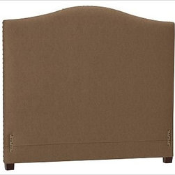 """Raleigh Nailhead Camelback Headboard, King, everydaysuede(TM) Nutmeg - Crafted by our own master upholsterers in the heart of North Carolina, our upholstered bed and headboard is available in a graceful camelback silhouette. Crafted with a kiln-dried hardwood frame. Headboard, footrail and siderails are thickly padded and tightly upholstered with your choice of fabric. Nailhead detail trims the outer edges of the headboard. Exposed block feet have a hand-applied espresso finish. Headboard also available separately. The headboard-only option is guaranteed to fit with our PB metal bedframe using the headboard hardware. Bed is designed for use with a box spring and mattress. This is a special-order item and ships directly from the manufacturer. To see fabrics available for Quick Ship and to view our order and return policy, click on the Shipping Info tab above. This item can also be customized with your choice of over {{link path='pages/popups/fab_leather_popup.html' class='popup' width='720' height='800'}}80 custom fabrics and colors{{/link}}. For details and pricing on custom fabrics, please call us at 1.800.840.3658 or click Live Help. View and compare with other collections at {{link path='pages/popups/bedroom_DOC.html' class='popup' width='720' height='800'}}Bedroom Furniture Facts{{/link}}. Crafted in the USA. Full: 57.5"""" wide x 83.5"""" long x 59"""" high Queen: 64.5"""" wide x 88.5"""" long x 59"""" high King: 80.5"""" wide x 88.5"""" long x 59"""" high Cal. King: 74.5"""" wide x 92.5"""" long x 59"""" high Full: 57.5"""" wide x 4.5"""" thick x 59"""" high Queen: 64.5"""" wide x 4.5"""" thick x 59"""" high King: 80.5"""" wide x 4.5"""" thick x 59"""" high Cal. King: 74.5"""" wide x 4.5"""" thick x 59"""" high"""