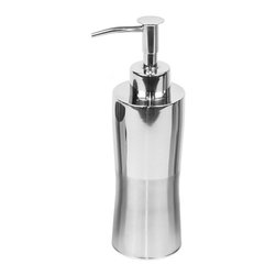 Gedy - Round Stainless Steel Soap Dispenser - You can take this soap dispenser anywhere. It's equally at home in the kitchen or bathroom. Sleek, stylish and very contemporary it will last for years. The stainless steel finish is durable and beautiful.