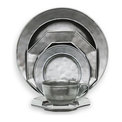 Juliska - Juliska Pewter Stoneware 5pc Dinnerware Round Set - Juliska Pewter Stoneware 5pc Round Set: KP01-KP05Pewter Stoneware has an old-world luster that conjures up visions of grand European estates. Remarkably, the ground-breaking metallic glaze has the same unrivalled durability and functionality as all Juliska ceramics. Its hammered finish gives each piece an original, authentic look.Set Includes: Pewter Stoneware Hexagonal Dessert PlateHexagonal Saucer