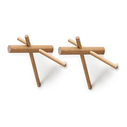 Tipi Wall Hooks - Set of 2 - A grouping of three pegs in each of these hooks gives you new options for hanging coats, hats, and bags in the entry, or towels and robes in the bath. Their unusual construction makes them an attractive accessory for your wall.