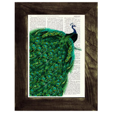 Peacock with endless tail Print on Vintage Dictionary Book altered art dictionar