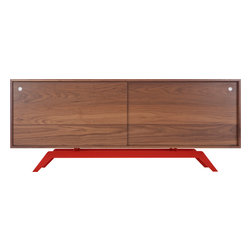 Eastvold Furniture - Elko Credenza, Walnut, Red Base - Midcentury meets modern in one sleek, versatile package. Stash everything from keys, files and homework to dishes, video equipment and books behind the sliding doors. Add a laser cut, powder-coated base in one of six colors to the adjustable shelves and wire passages, and you get myriad ways to fall in love.