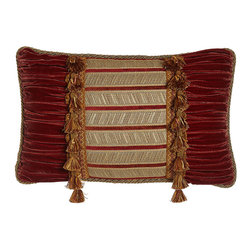 """Dian Austin Couture Home - Pieced Pillow with Tassels 23"""" x 14"""" - PAPARIKA/BEIGE (14X23) - Dian Austin Couture HomePieced Pillow with Tassels 23"""" x 14""""Designer About Dian Austin Couture Home:Taking inspiration from fashion's most famous houses of haute couture the Dian Austin Couture Home collection features luxurious bed linens and window treatments with a high level of attention to detail. Acclaimed home designer Dian Austin introduced the collection in 2006 and seeks out extraordinary textiles from around the world crafting each piece with local California artisans."""