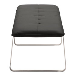 Zuo - Cartierville Bench, Black - The Cartierville Bench is flawlessly modern. With a boxy stainless steel base and supple leatherette or polyblend fabric seat, the Cartierville Bench has go-anywhere appeal. Choose this versatile modern seat for a dining bench, or for extra seating at the foot of the bed. Or choose this easy-to-maintain piece for an office seating arrangement in the lobby or conference room. The Cartierville Bench pairs well with our Anjou Dining Chair. Choose from gray fabric or black, white or taupe leatherette.