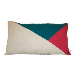 Geometric Color Block | Oatmeal + Deep Sea Teal + Cardinal Red Linen Pillow - Geometric + Color Block | Oatmeal + Deep Sea Teal + Cardinal Red Linen Pillow Cover