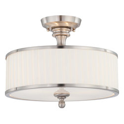Nuvo Lighting - Nuvo Lighting 60-4737 Candice 3-Light Semi-Flush Fixture with Pleated White Shad - Nuvo Lighting 60-4737 Candice 3-Light Semi-Flush Fixture with Pleated White Shade