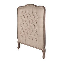 Lillian Gray Oak French Country Queen Headboard - Add a little ooh-la-la to your boudoir with this French Country–style headboard. The linen fabric is button-tufted and set in a frame of dark limed oak with a distressed gray finish that has a vintage vibe, yet exudes an updated edge at the same time.