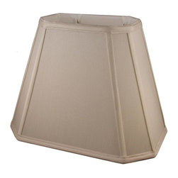American Heritage Shades - Fabric Lampshade in Taupe (18 in. Diam x 14 in. H) - Choose Size: 18 in. Diam x 14 in. HLampshade Types. Shantung faux silk with off-white fabric liner. Hand made. Matching top, bottom and vertical trim. Corner cut rectangle shape. Fitter type: 1 in. drop and washer for harp fitter. Enhances lamp and room decor. Made from polyester. Fitter in brass color. Made in USA. No assembly required