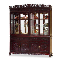China Furniture and Arts - 72in Rosewood French Queen Ann Grape Motif China Cabinet ...