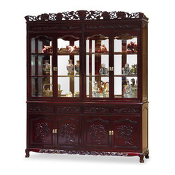 China Furniture and Arts - 72in Rosewood French Queen Ann Grape Motif China Cabinet - Constructed from solid rosewood, this grand curio cabinet exhibits your treasured collectibles to the best effect with museum quality lighting and mirror. Hand-carved grape motif symbolizes abundance and prosperity. Four drawers and cabinets with removable shelf in the lower portion providing ample storage space. Hand-applied dark cherry finish allows the beauty of rosewood to shine through that will bring cheerfulness to your home. (2pcs/set).