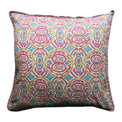 """Anokhi - Samakand Spice cushion cover - 24"""" x 24"""" - The cushion covers are hand block printed on a heavy weight cotton. Each cushion cover has a matching border on the front and a complementary print at the back. They have a zip closure and can be ordered with or without cushion inserts. Cushion inserts are 90% down filled. • Made of 100% cotton • Hand Block printed • Naturally occurring dye variations are found on all hand printed textiles, making each piece unique."""