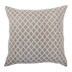 """Bandhini - Jali Natural Lounge Throw Pillow - The Jali lounge throw pillow's neutral tones evoke contemporary relaxation. In natural beige and white, a striking quatrefoil pattern expresses visual interest. 21""""W x 21""""H; 60% cotton, 40% viscose; Dry clean; Grey goose down fill insert included"""